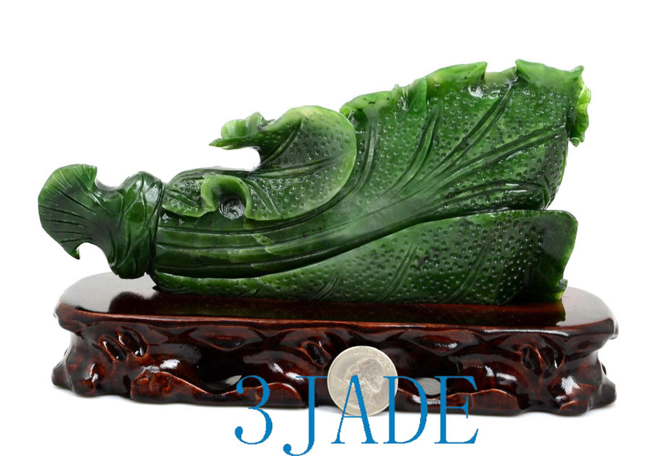 Exquisite Natural Green Jade Sculpture Carved Chinese Cabbage Shape Statue