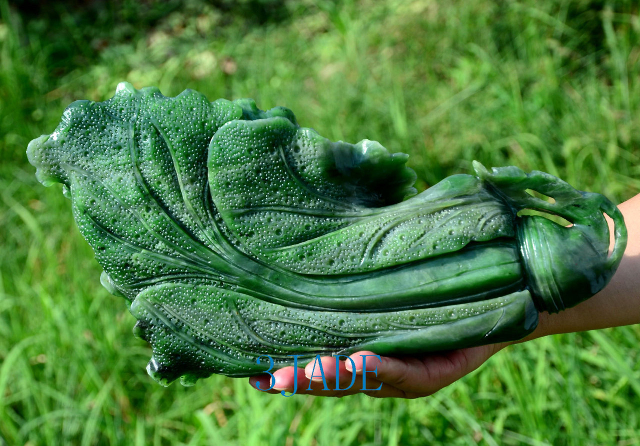 """13"""" Detailed Carved Green Nephrite Jade Chinese Cabbage Sculpture Jade Bok Choy"""