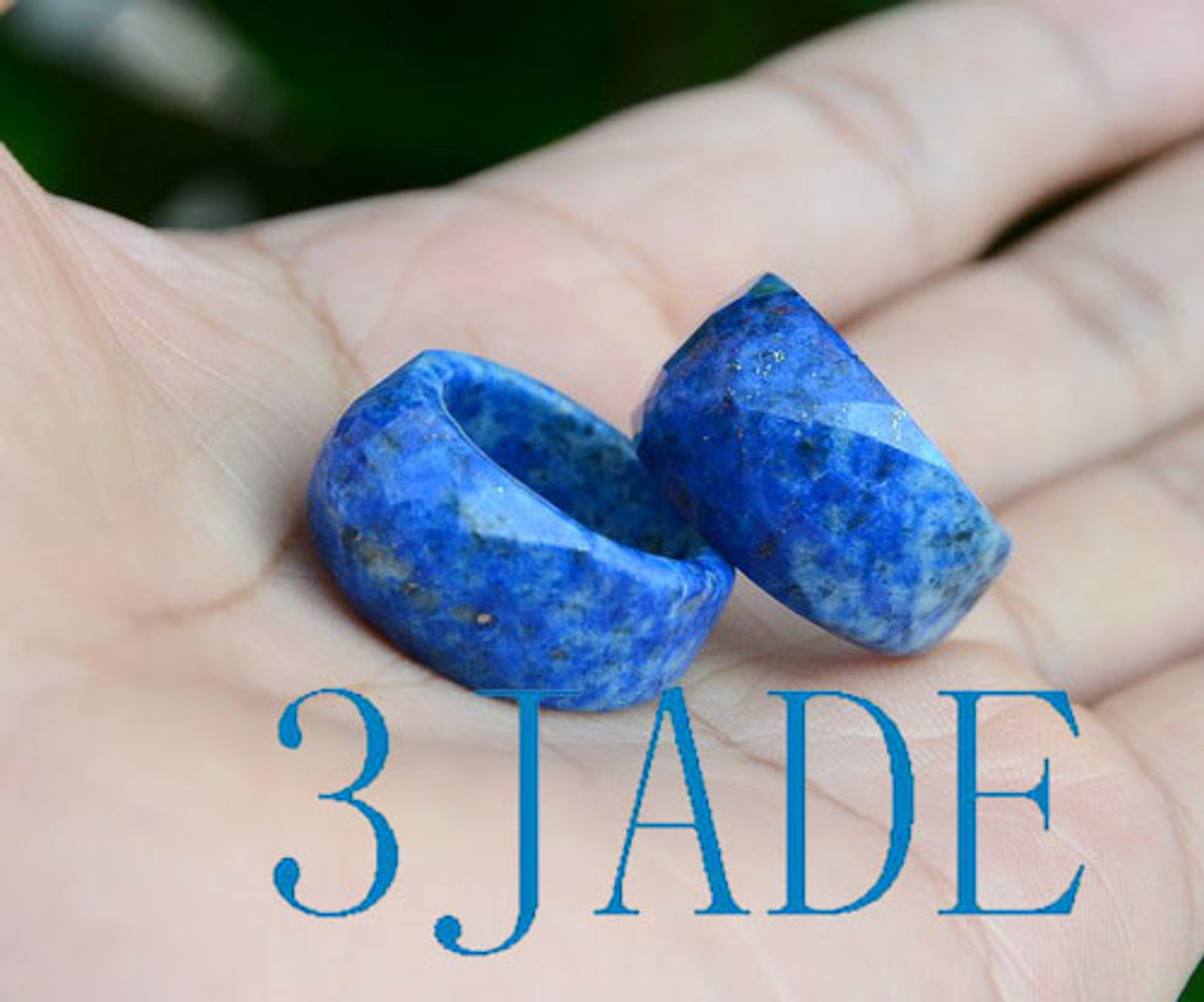 Faceted Natural Lapis Lazuli Saddle Ring, US size 6.5, size 8