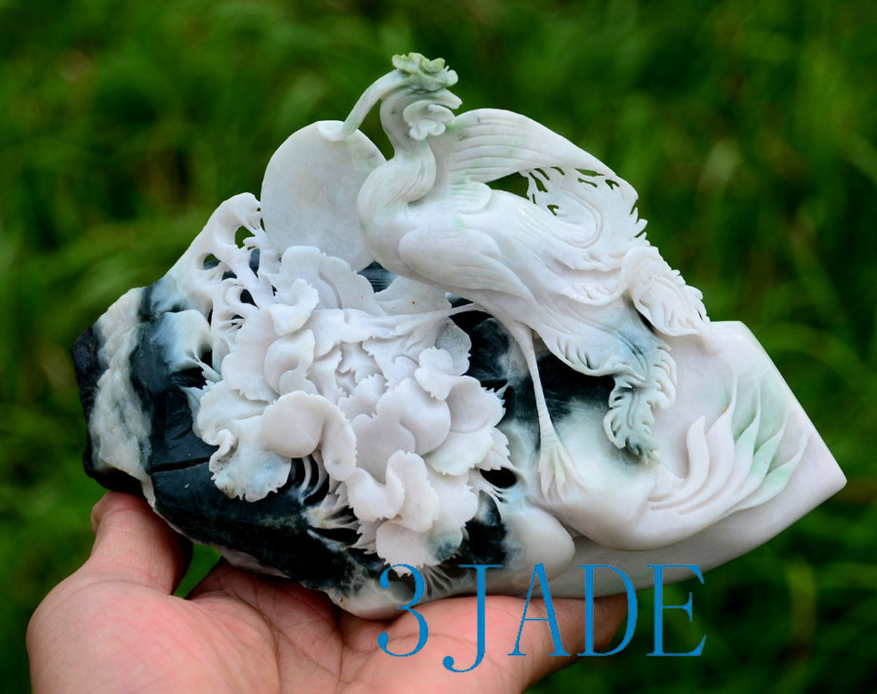 Chinese Jade Bird Flower Carving