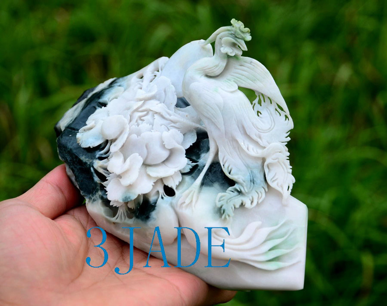 Jade Bird Flower Statue
