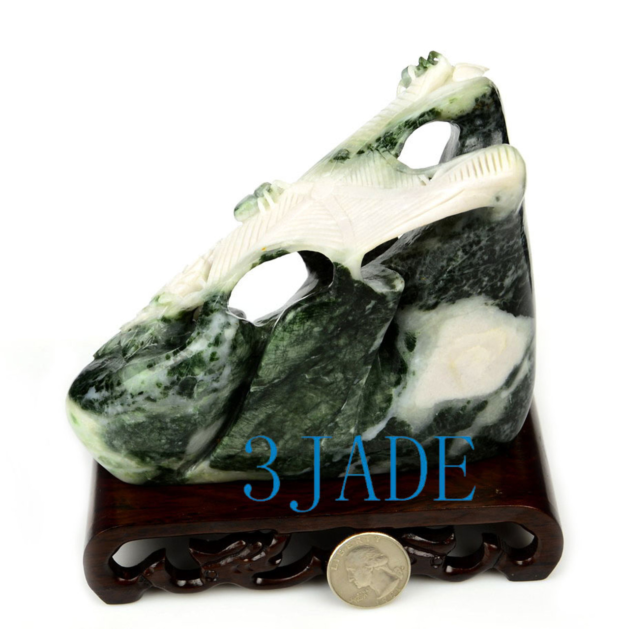 Hand Carved Dushan Jade Stone Spider Web Statue/Carving/Sculpture