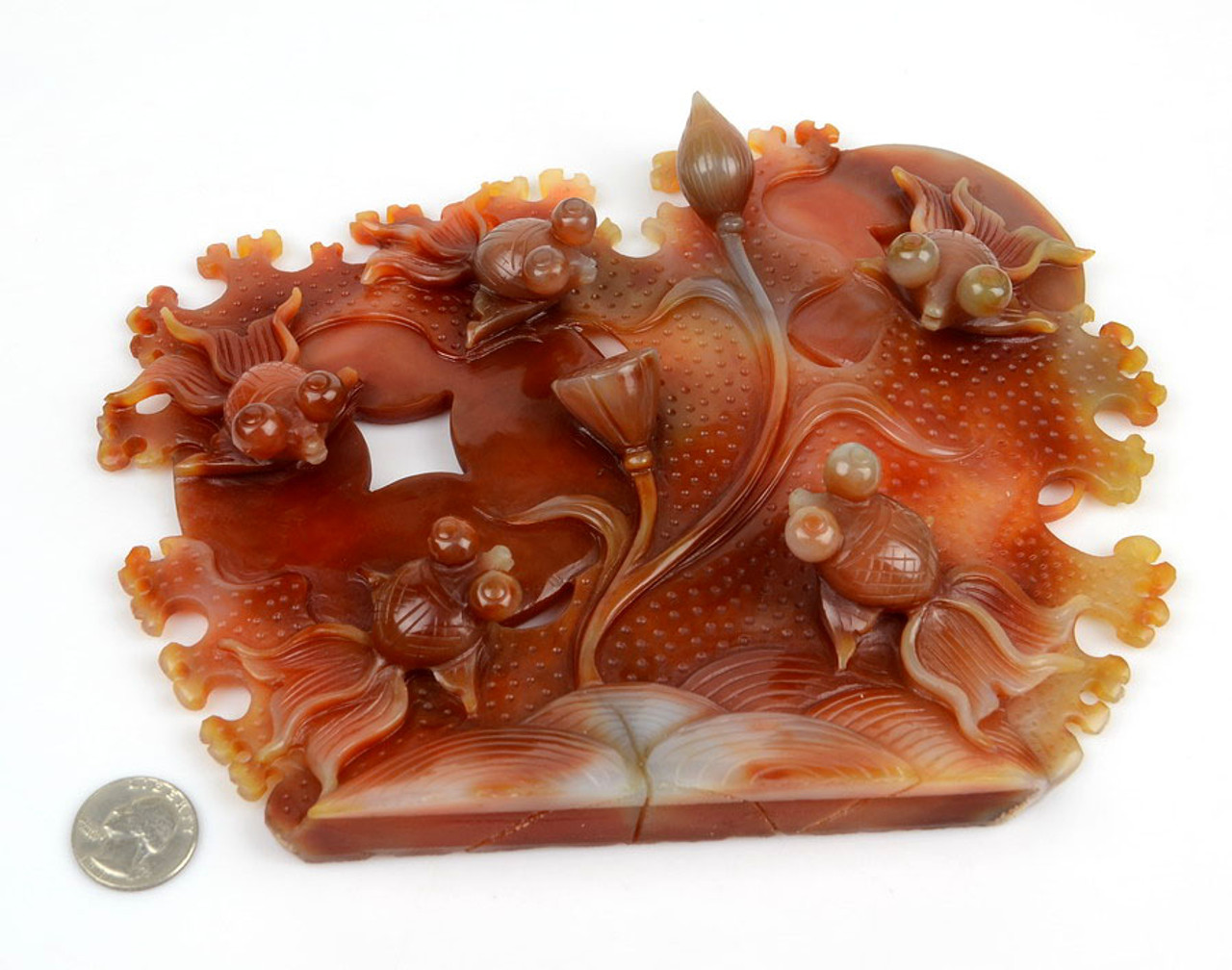 "9"" Carnelian / Red Agate Goldfish Sculpture / Statue /Gold Fish Carving"