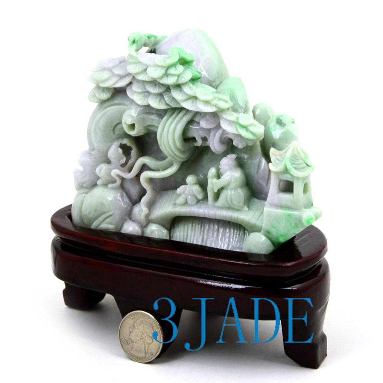 A Grade Jadeite Jade Chinese Village Sculpture
