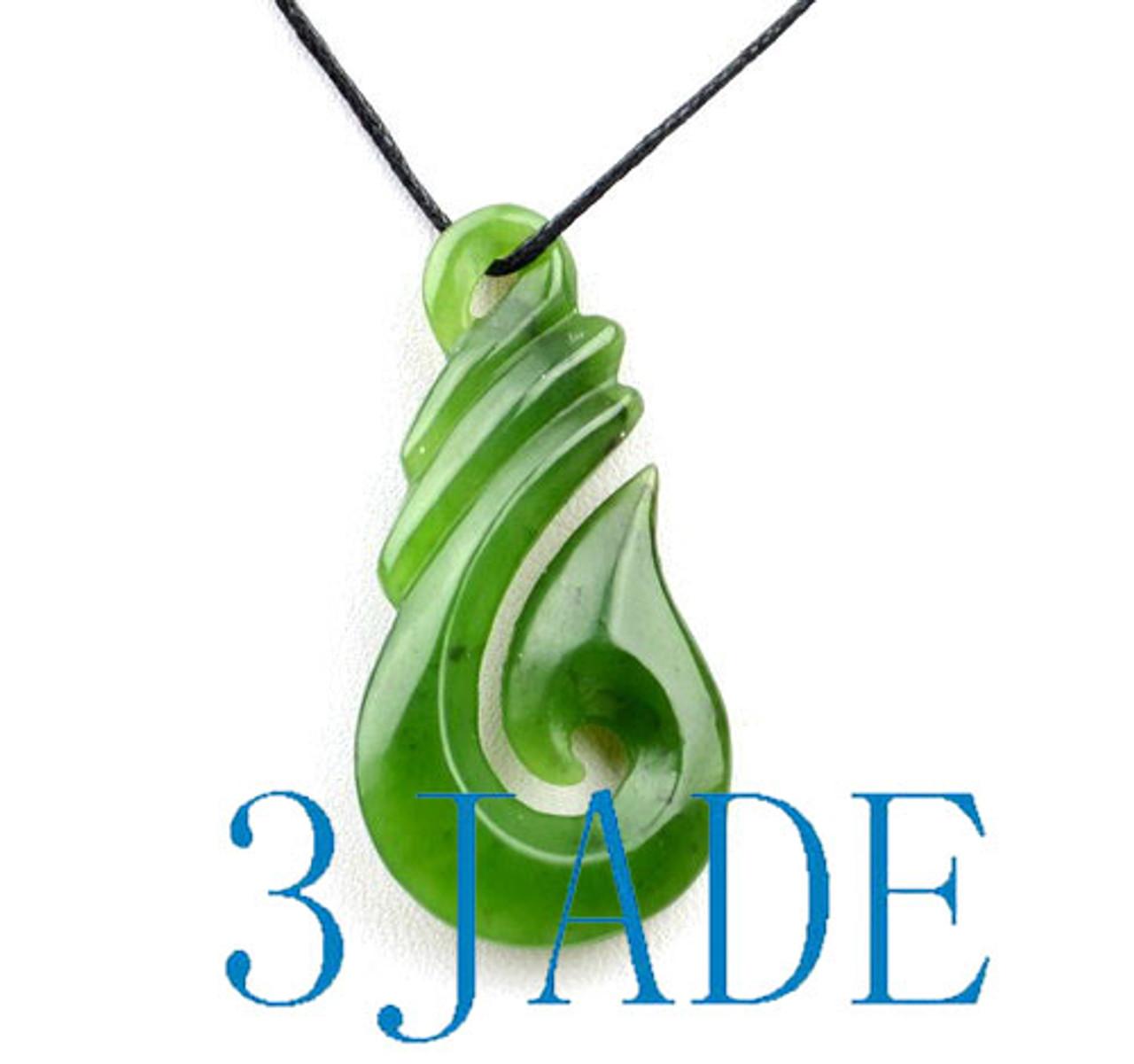Green Jade Hei Matau / Fish Hook Pendant