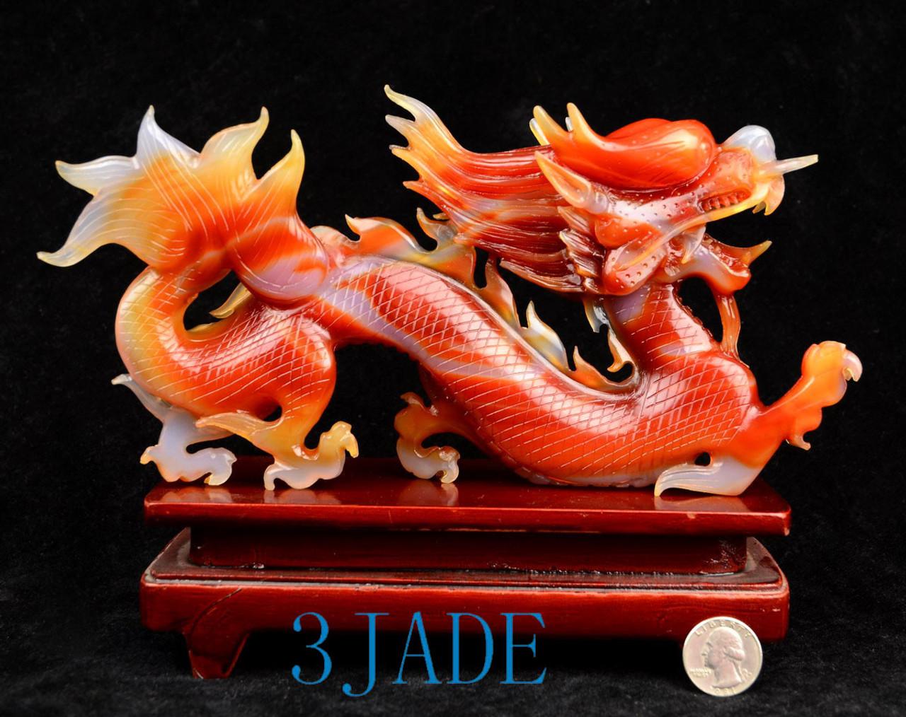 Red Agate Dragon Statue