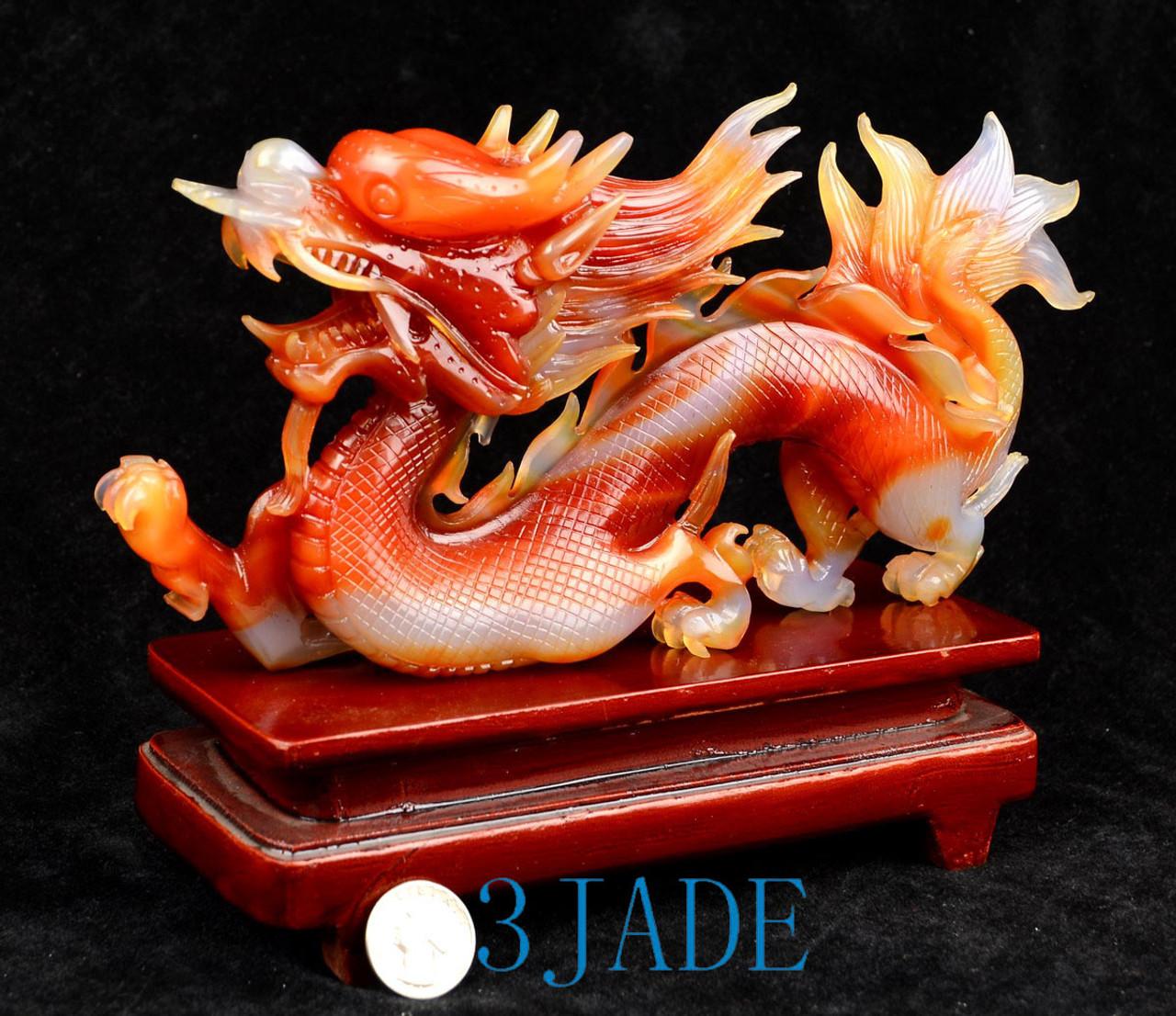 Red Agate Dragon Sculpture