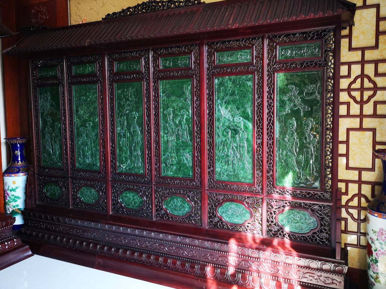 Green Nephrite Jade Chinese Screen Set