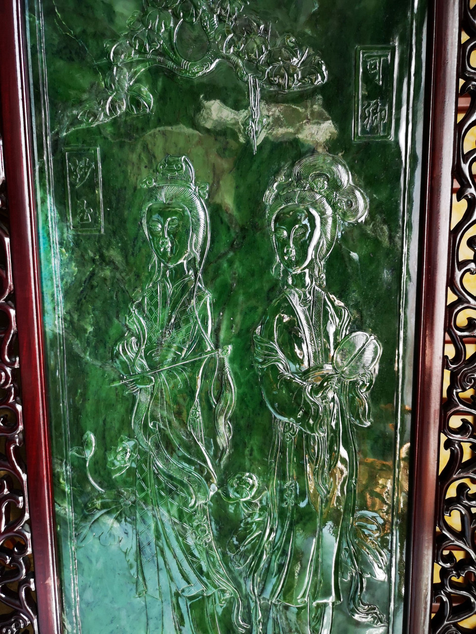 3.76m*2.66m Green Nephrite Jade Chinese Screen Set: Twelve Beauties of Jinling in Dream of the Red Chamber