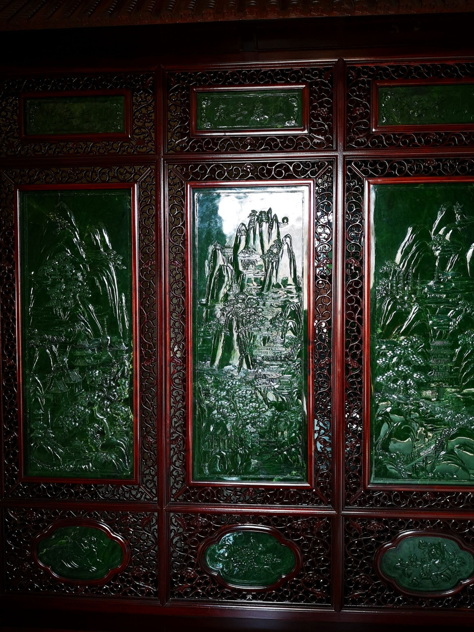 Hand Carved Jade Chinese Screen