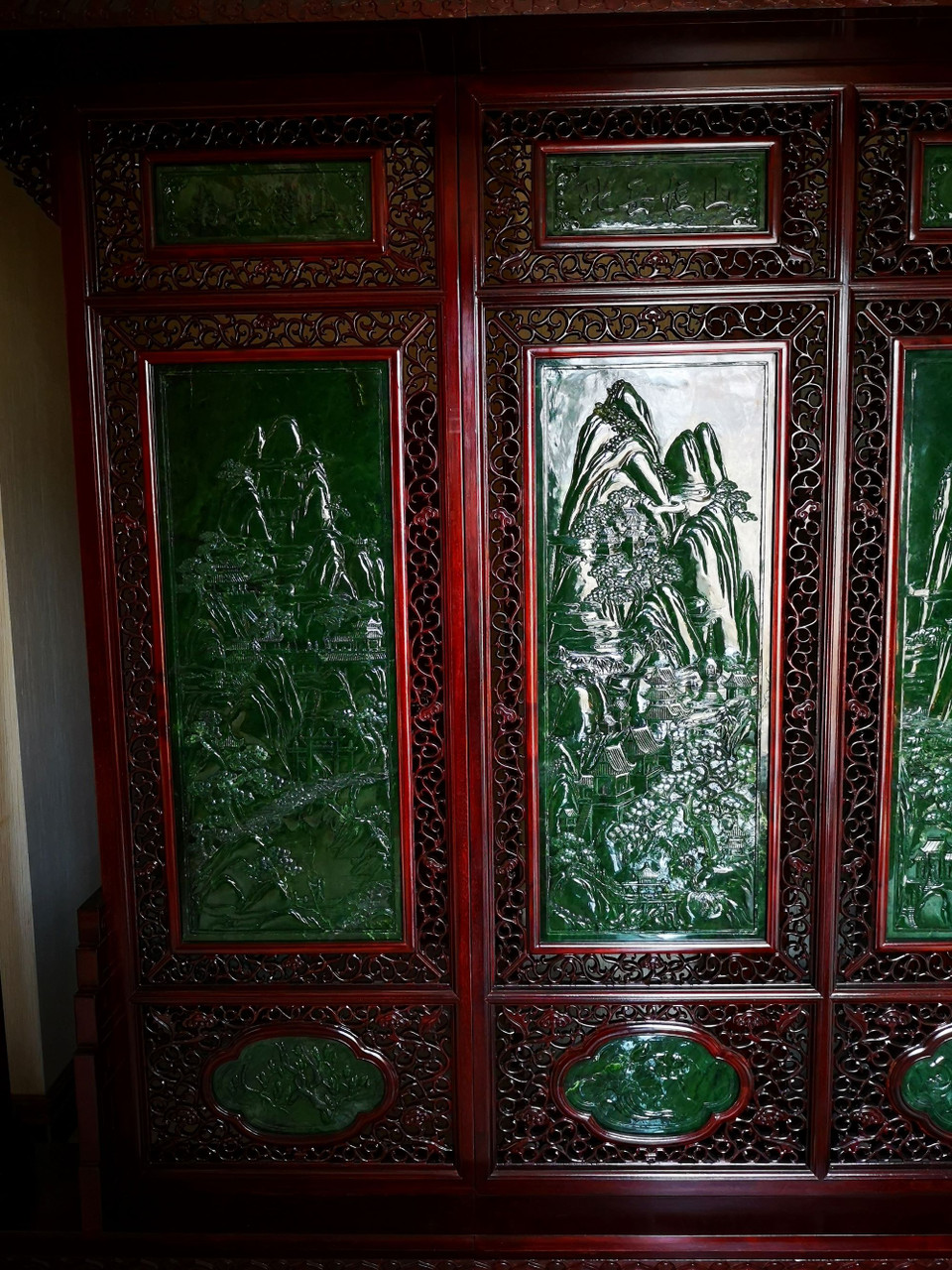 4.33m*2.90m Green Nephrite Jade Chinese Screen Set: The Five Great Mountains