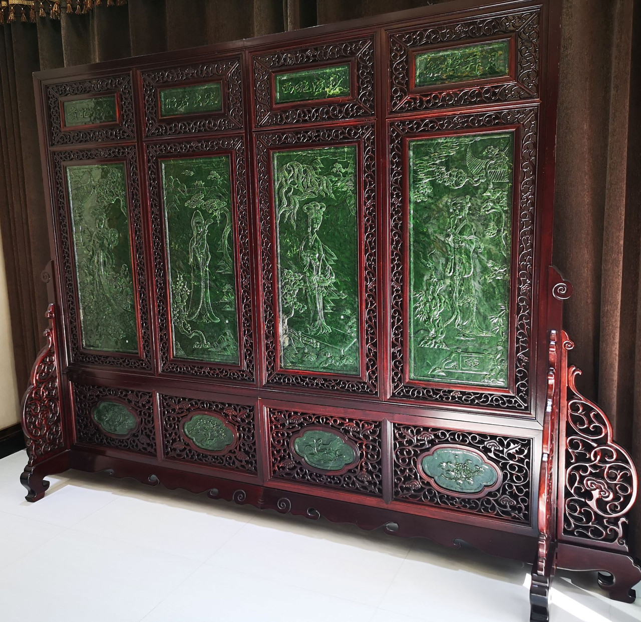 3.30m*2.26m Spinach Jade Rosewood Chinese Screen: Four Great Beauties 手工雕刻碧玉屏风四大美女