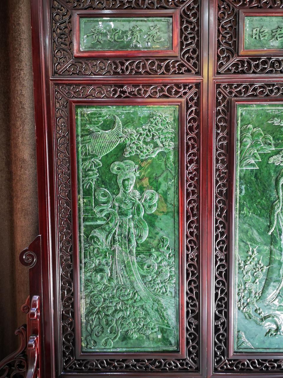 3.30m*2.26m Spinach Jade Rosewood Chinese Screen: Four Great Beauties 手工雕刻碧玉屏风四大美女