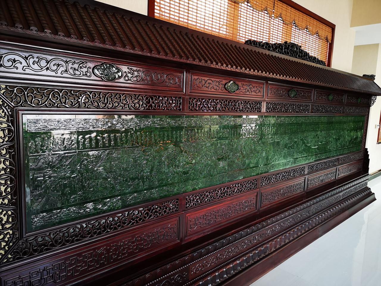 Big Green Jade Rosewood Chinese Screen