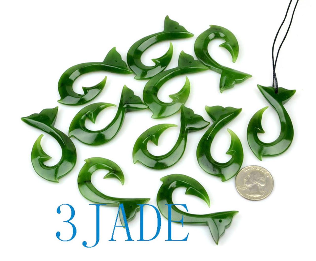 Green Jade Whale Tail Fish Hook Pendant NZ Maori Hei Matau Necklace