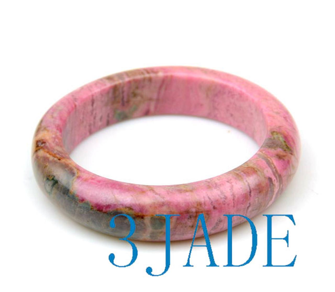 57mm-58.5mm Natural Rhodonite D Shape Bangle Pink Crystal Bracelet