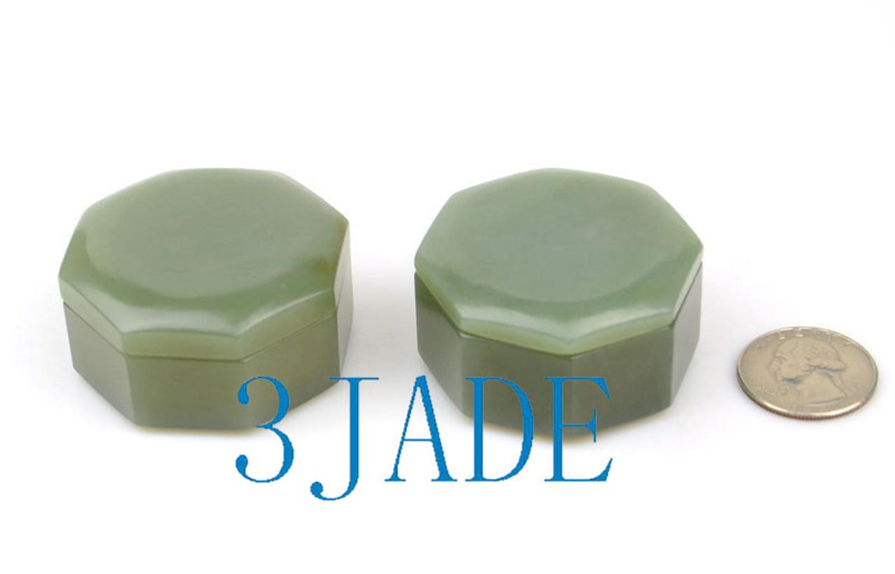 Hand Carved Nephrite Jade Gemstone Jewelry Box