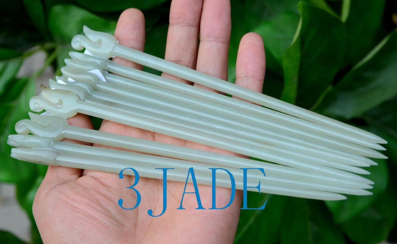 NZ Maori Jade Fish Hook Hairpin