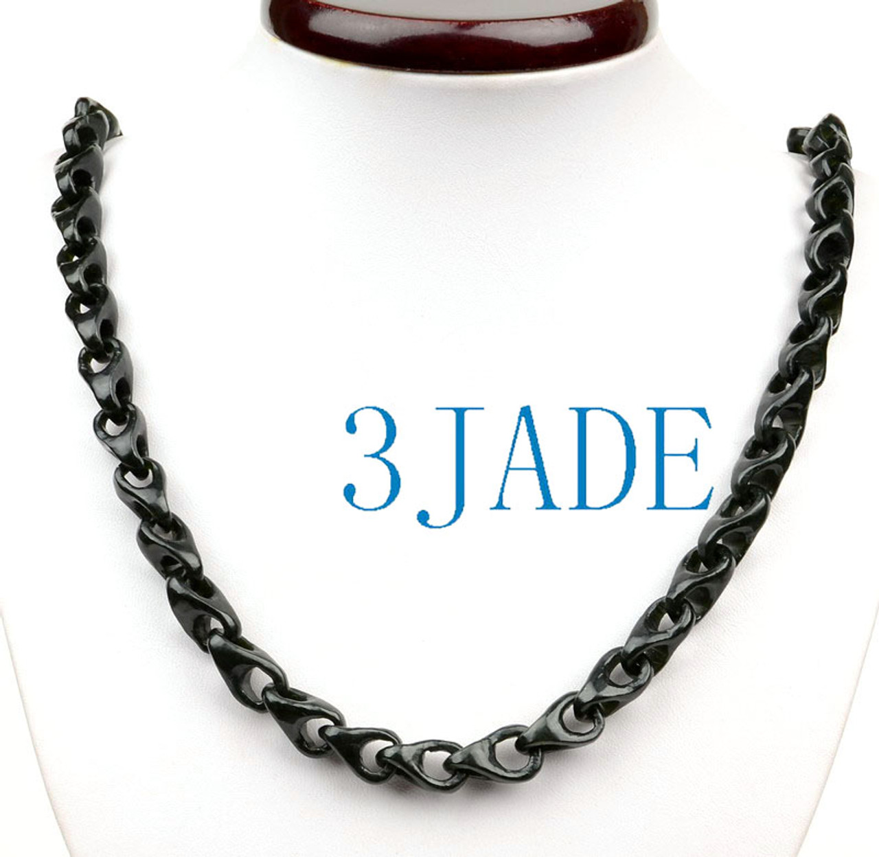 Hand Carved Black Nephrite Jade Link Chain Necklace