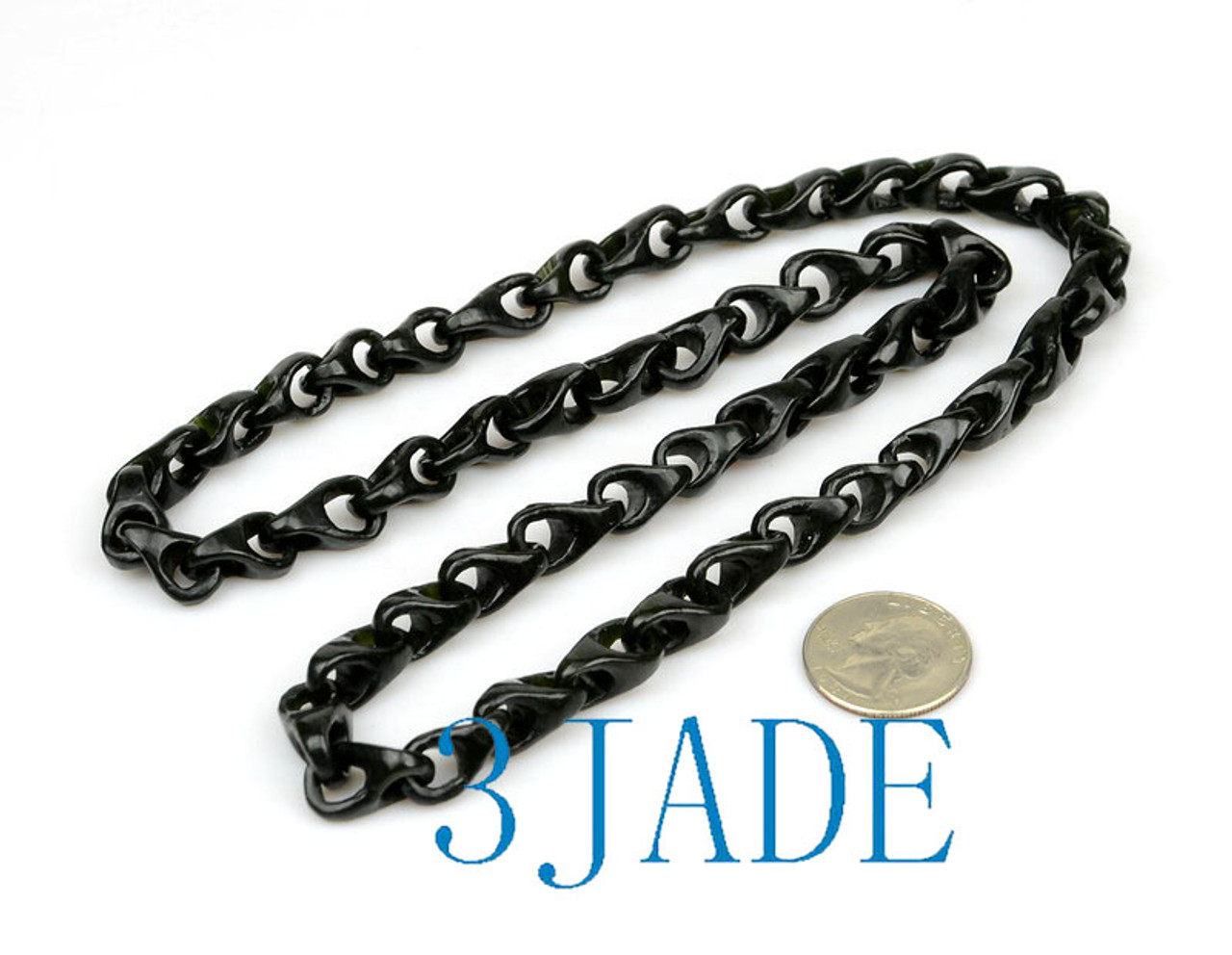 Hand Carved Black Nephrite Jade Link Chain