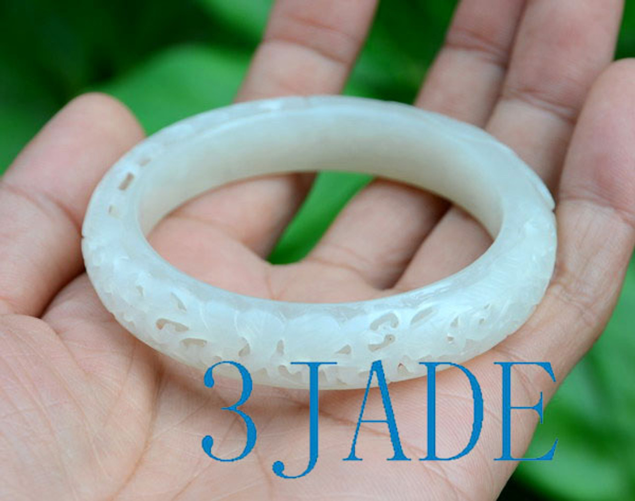 small size carved jade bangle
