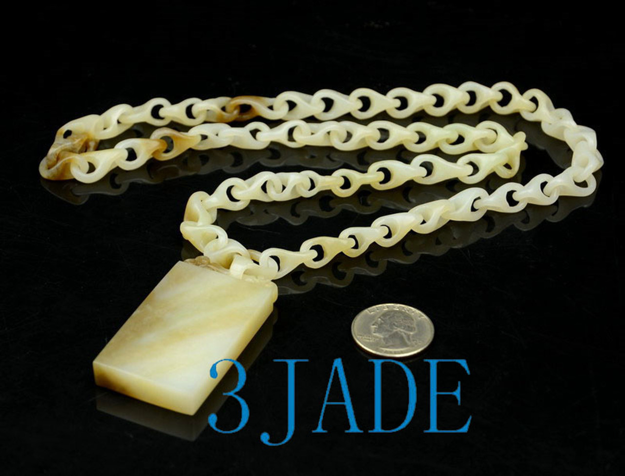 Hand Carved White Sugar-brown Jade Link Chain Necklace