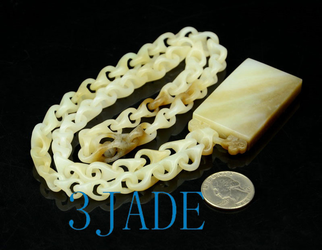 link chain jade necklace with engravable pendant