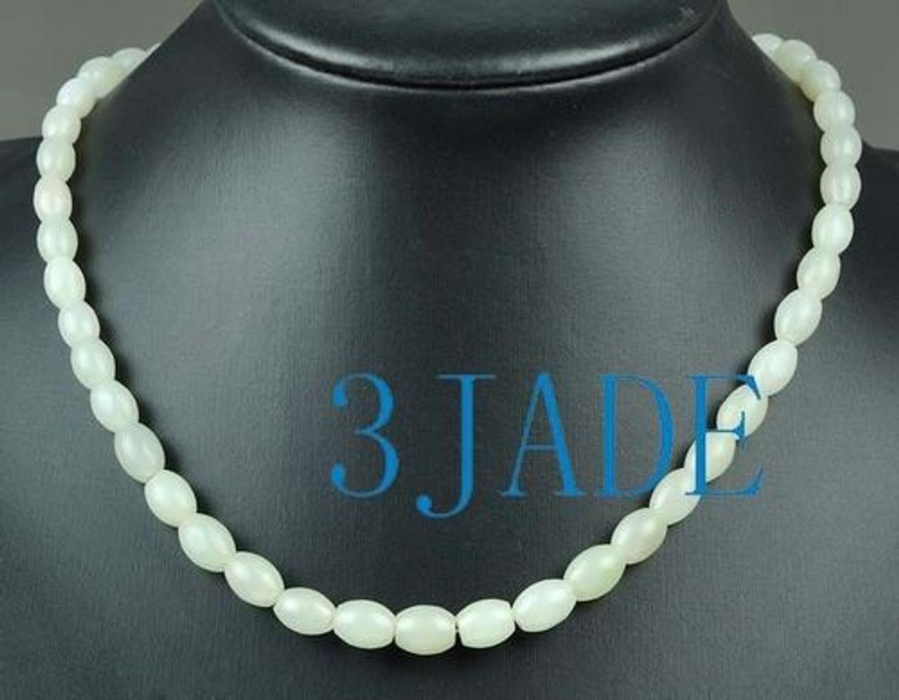 Natural Hetian Nephrite Jade Beads Necklace, w/ certificate