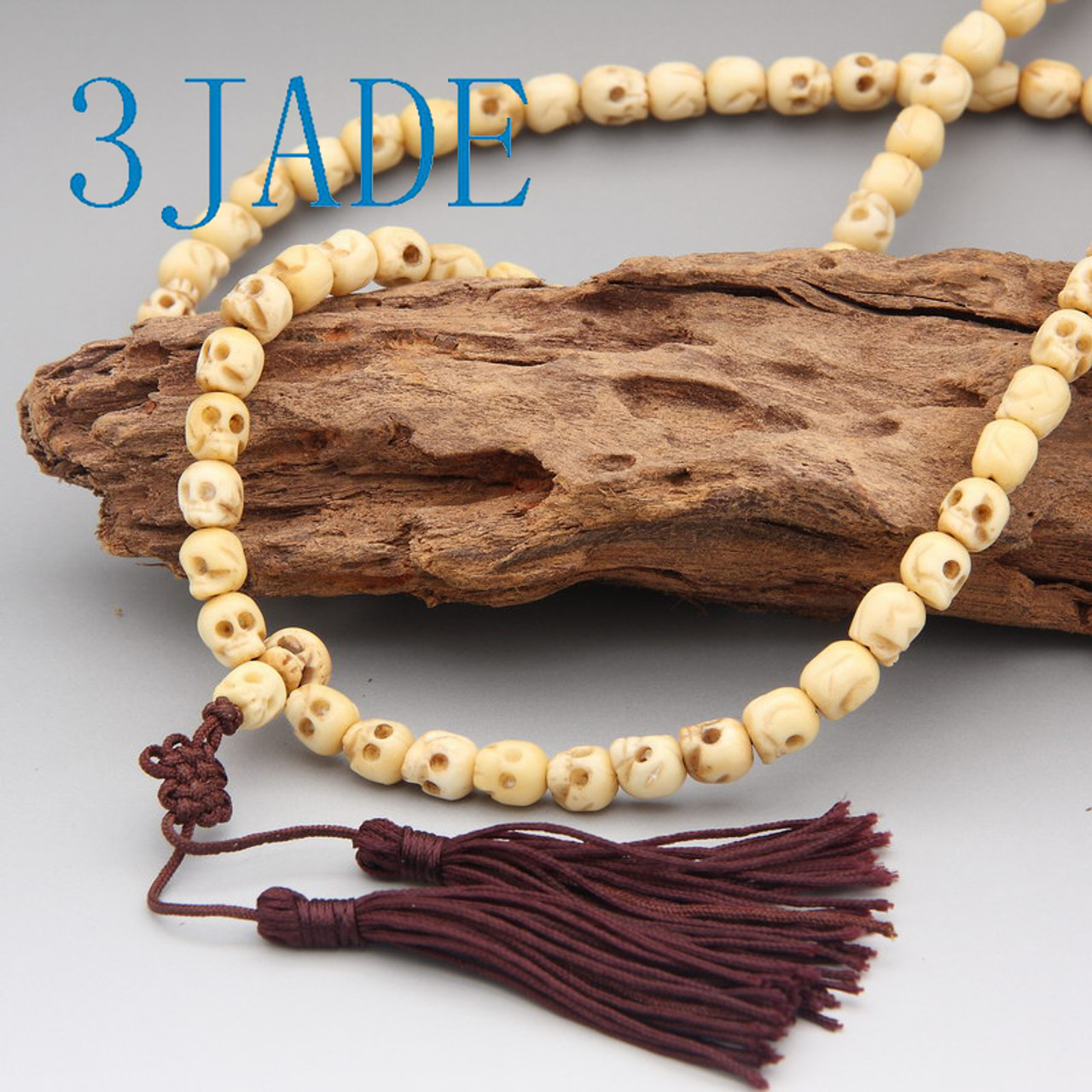 44 Tibetan Carved Bone Skull Meditation Prayer Beads Mala E011002b 3jade Wholesale Of Jade Carvings Jewelry Collectables Prayer Beads