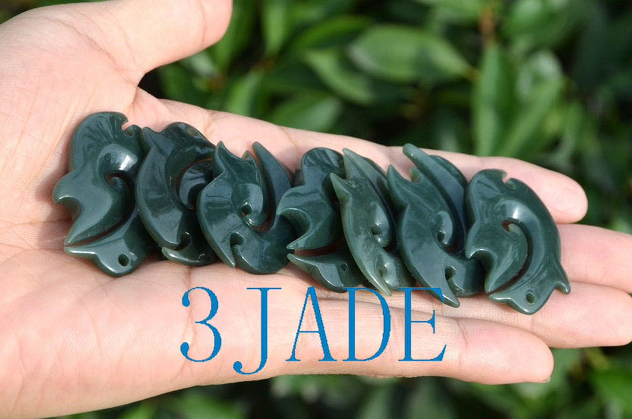 Nephrite Jade Fish Hook Hei Pendant Necklace New Zealand Maori Style Jewelry
