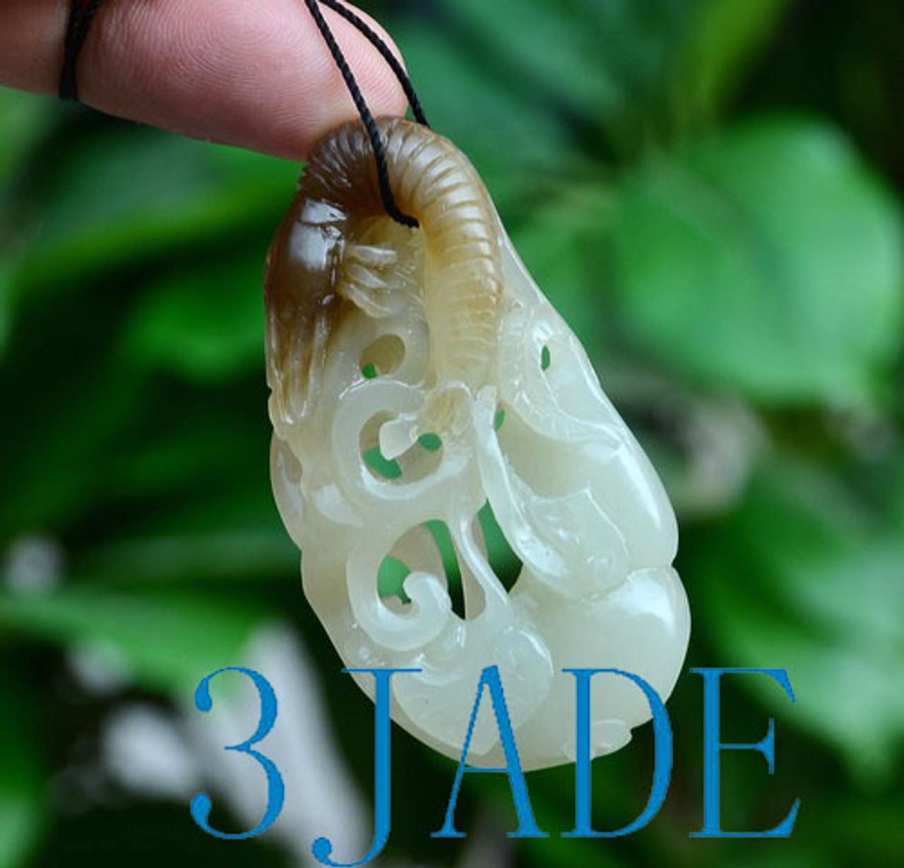 hand carved jade shrimp necklace