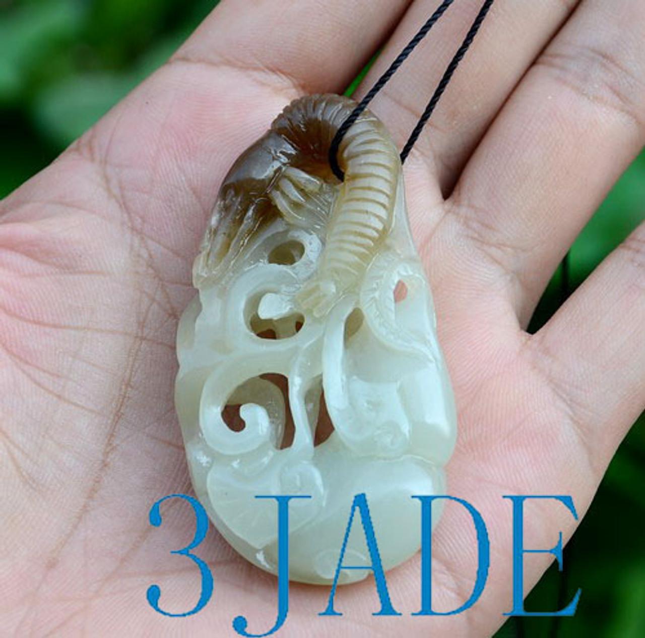 hand carved jade shrimp