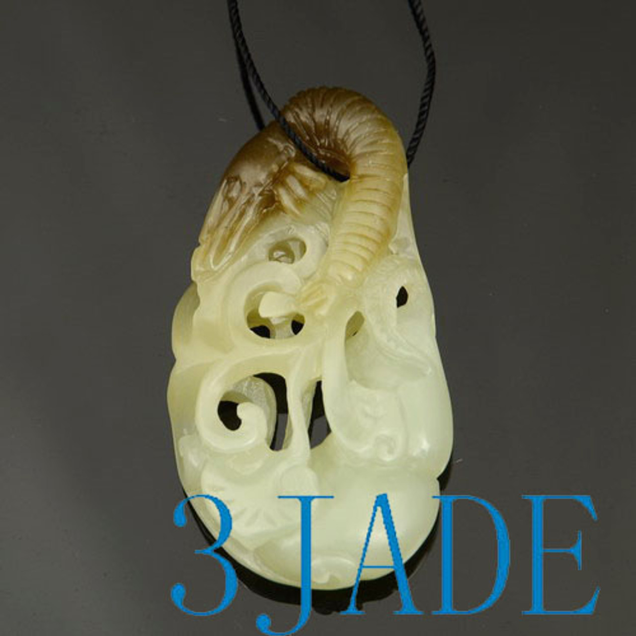 Hand Carved White & Brown Nephrite Jade Shrimp Pendant Necklace w/ Certificate
