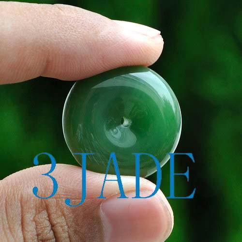 Natural Green Nephrite Jade Donut Pendant G026082