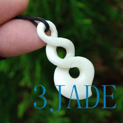 Hand Carved Bone Double Twist Amulet Pendant New Zealand Maori Style Carving