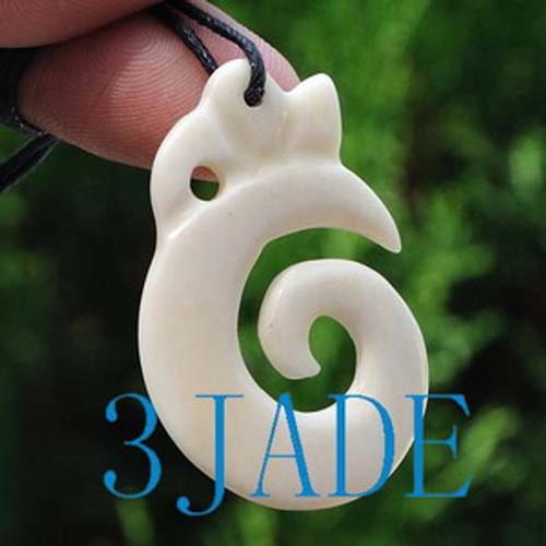 Hand Carved Bone Koru / Swirl Amulet Pendant New Zealand Maori Style Carving