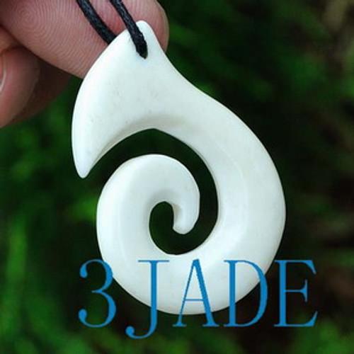 Hand Carved Bone Fish Hook Koru / Swirl Amulet Pendant New Zealand Maori Style Carving