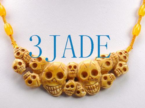 Tibetan Hand Carved Bone Skulls Pendant / Necklace #33
