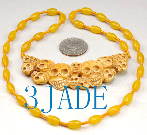 Tibetan Hand Carved Bone Skulls Pendant / Necklace #33