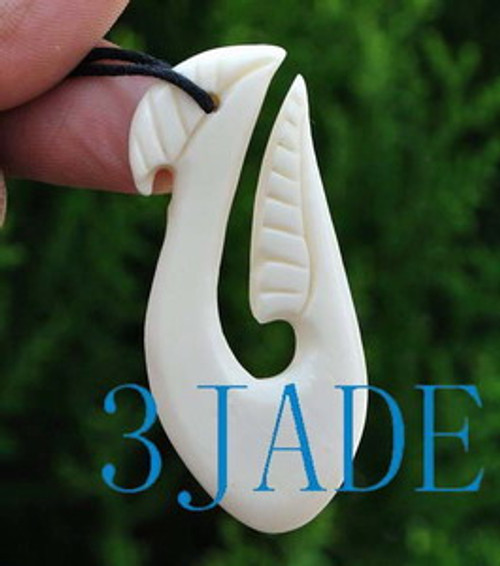 Hand Carved Bone Fish Hook Amulet Pendant New Zealand Maori Style Carving G029120