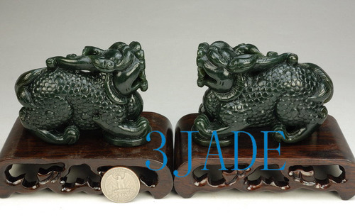 2 Natural Nephrite Jade Pixiu Statues Chinese Feng Shui Carving
