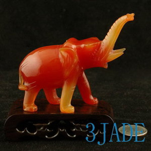 Hand Carved Red Agate / Carnelian Elephant