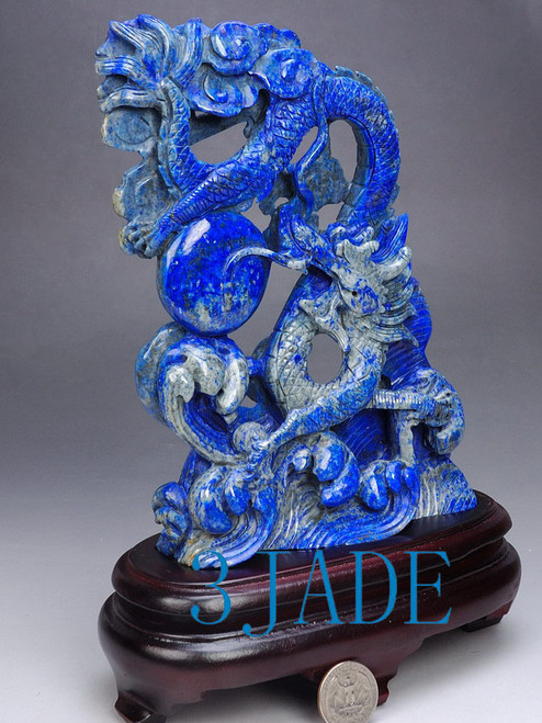Lapis Dragons Sculpture