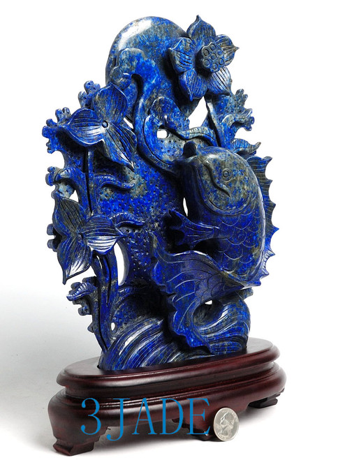 "10"" Natural Lapis Lazuli Carving: Koi Fish Statue / Sculpture / Chinese Art -J040235"