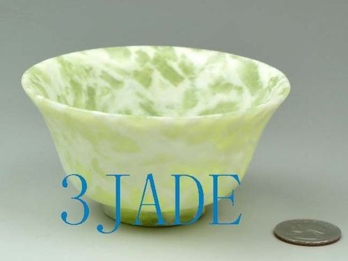 "3 7/8"" Hand Carved Natural Cloudy Xiu Jade / Serpentine Bowl / Cup -N011013"