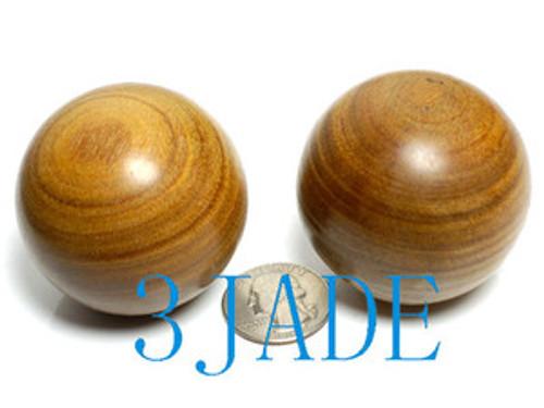 Pair Of 50mm Green Sandalwood Medicine Balls Spheres