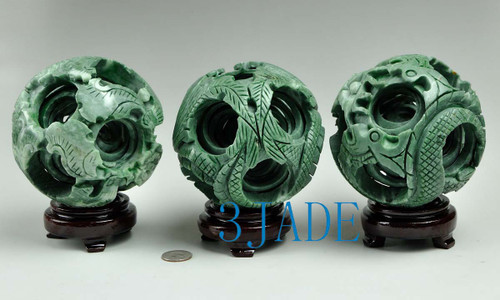 6 layers Green Jade Puzzle Ball