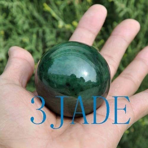 53mm-54mm Natural Green Nephrite Jade Ball / Sphere Crystal Healing