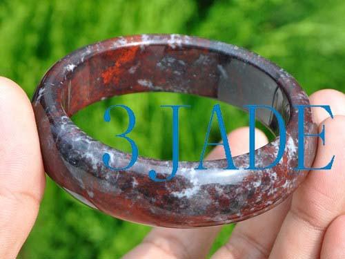 60mm Natural Chicken Blood Stone Cinnabar Bangle Bracelet