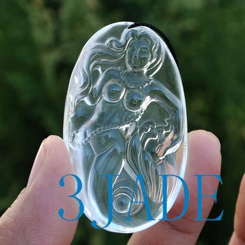 Crystal quartz mermaid pendant